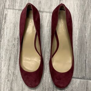 Ann Taylor suede burgundy pumps.  Size 81/2 M.